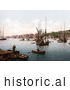 Historical Photochrom of Ships on the River Medway in Chatham, Kent, England, United Kingdom by Picsburg
