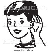 Clipart of a Boy Cupping His Ear While Trying to Hear Something Far Away - Black and White Drawing by Al