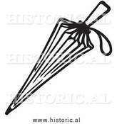 January 12nd, 2014: Clipart of a Closed Umbrella with String Handle - Black and White Line Drawing by Al