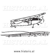 Clipart of a Compact Airplane Taking Flight - Black and White Drawing by Al