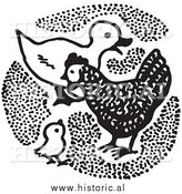 Clipart of a Duck with Chickens - Black and White by Al
