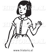 Clipart of a Girl Waving Hello with Smile - Black and White Drawing by Al
