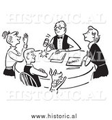 Clipart of a Happy Family Discussing Budget - Black and White Drawing by Al