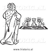 Clipart of a Smiling King Looking at Three Cats Sitting on a Rug - Black and White Drawing by Al