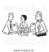 Clipart of a Smiling Lady Introducing Two Guys - Black and White Drawing by Al
