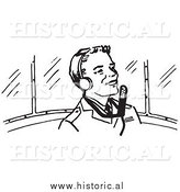 Clipart of a Smiling Pilot Wearing Headphones - Black and White Retro Drawing by Al