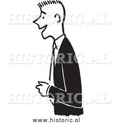 Clipart of a Smiling Young Man Wearing a Suit While Standing and Looking Engaged - Retro Black and White Design by Al