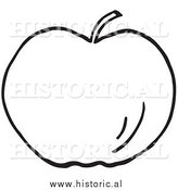 January 4th, 2014: Clipart of a Whole Apple - Black and White Outline by Al