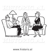 Clipart of Adults Sitting with Nervous Teenager in the Livingroom - Black and White Drawing by Al
