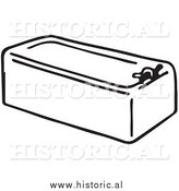 Clipart of an Old Bath Tub - Black and White Drawing by Al