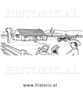 Clipart of Cowboys Talking on a Farm - Black and White Line Drawing by Al