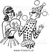 Clipart of Happy Girls Dancing at a Halloween Costume Party - Black and White Drawing by Al
