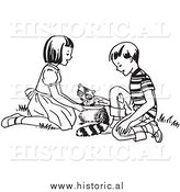 Clipart of Happy Kids Feeding a Hungry Raccoon - Black and White Drawing by Al