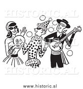 Clipart of People Having Fun at a Halloween Costume Party - Black and White Drawing by Al
