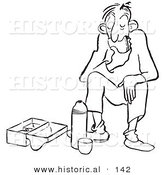 Historical Cartoon Illustration of a Tired Man Eating Lunch - Outlined Version by Al