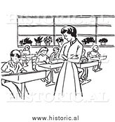 January 1st, 2014: Historical Clipart of a Retro Teacher Watching Students Work in Class - Black and White by Al