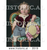 Historical Illustration of a Child Sitting in a Chair, Holding a Riding Crop and Hat by Al