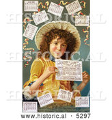 Historical Illustration of a Curly Haired Girl Surrounded by Calendars in 1889 by Al