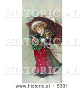 Historical Illustration of a Girl and Dog in Snow Storm by Al
