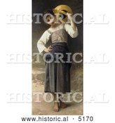 Historical Illustration of a Girl Carrying a Water Jar on Her Shoulder, by William-Adolphe Bouguereau by Al