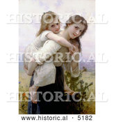 Historical Illustration of a Girl Carrying Her Little Sister on Her Back, Not Too Much to Carry by William-Adolphe Bouguereau by Al