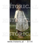 Historical Illustration of a Girl Holding Her Dress Out, the Curtsey by William-Adolphe Bouguereau by Al