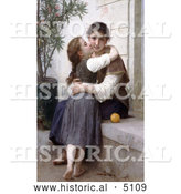 Historical Illustration of a Girl Kissing Her Mom's Cheek, a Little Coaxing, by William-Adolphe Bouguereau by Al