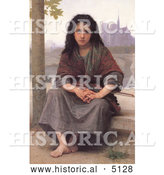 Historical Illustration of a Girl with a Violin, the Bohemian by William-Adolphe Bouguereau by Al