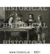 Historical Illustration of a Little Boy and a Dog Standing by a Table Where Christopher Columbus and Three Other Men Listen As Columbus Proposes His Theory of a New World with Maps by Al