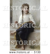 Historical Illustration of a Little Girl Sewing by William-Adolphe Bouguereau by Al