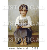 Historical Illustration of a Little Girl with an Open Book, the Difficult Lesson by William-Adolphe Bouguereau by Al