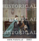 Historical Illustration of a Man Proposing Marriage to a Woman While Sitting at a Piano by Al