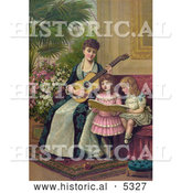 Historical Illustration of a Mother and Two Little Girls Singing a Christmas Carol by Al