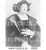 Historical Illustration of a Portrait of Christopher Columbus by Sebastiano Del Piombo - Black and White Version by Al