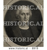 Historical Illustration of a Portrait of Christopher Columbus Wearing a Fur Trimmed Coat and Facing Front by Al
