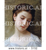 Historical Illustration of a Sad Young Woman, Head of a Young Girl, by William-Adolphe Bouguereau by Al
