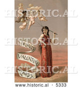 Historical Illustration of a Woman with Cherub Balloons by Al