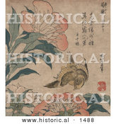 Historical Illustration of a Yellow Canary Bird Flying near Pink Peony Flowers by Al