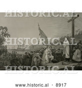 Historical Illustration of Christopher Columbus and His Crew Men Kneeling in Front of a Priest During a Religious Service at a Large Cross During the First Landing in the New World by Al