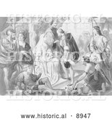 Historical Illustration of Columbus Being Greeted by King Ferdinand and Queen Isabella - Black and White Version by Al