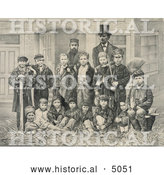 Historical Illustration of D.L. Moody and J.V. Farwell Standing Behind a Group of 14 Boys on a Street in Front of a Building by Al