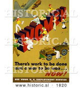 Historical Illustration of Ladies Building the Word WOMEN - There's Work to Be Done and a War to Be Won ... NOW! by Al