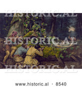 Historical Illustration of Native American and Frontier Men Aiming Rifles at Native Americans While They Fall for a Trick in a Forest by Al