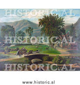 Historical Illustration of People Traveling Quickly over a Bridge in a Stagecoach Towards a Village by Al