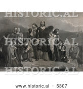 Historical Illustration of Pilgrims Landing in America in 1620 by Al