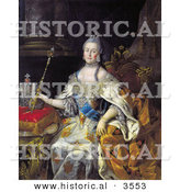 Historical Illustration of Queen Catherine II of Russia Sitting with a Wand by Al