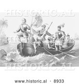 Historical Illustration of the Landing of Columbus at San Salvador 1492 - Black and White Version by Al