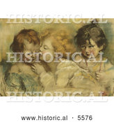 Historical Illustration of Three Children, One Kissing Another by Al