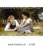 Historical Illustration of Two Girls Sitting in Grass, the Nut Gatherers by William-Adolphe Bouguereau by Al