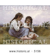 Historical Illustration of Two Little Girls Playing an Instrument, a Childhood Idyll by William-Adolphe Bouguereau by Al